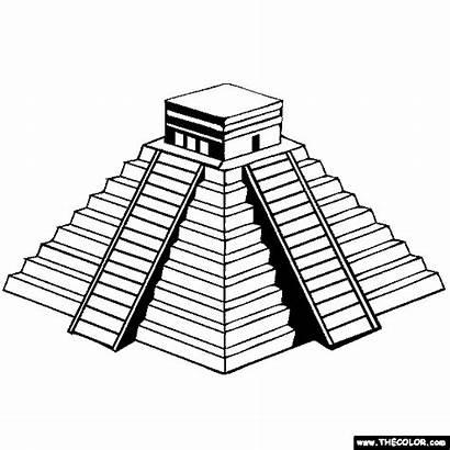 Mayan Temple Famous Aztec Coloring Drawing Pyramid