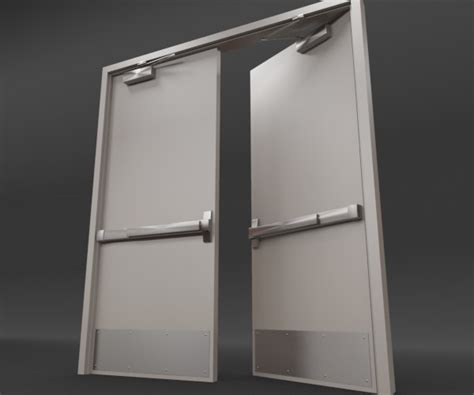commercial door closer rigged door 3d model