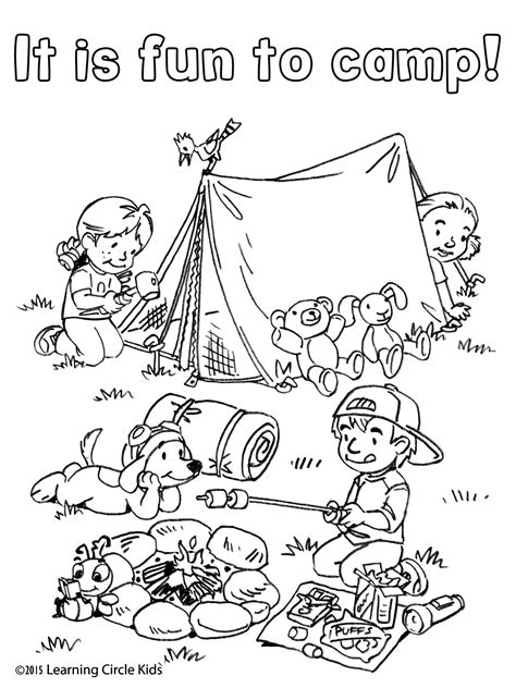 coloring  reading page summer fun camping