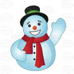 round snowman wearing a red scarf with a large smile waving hello stock cartoon graphics