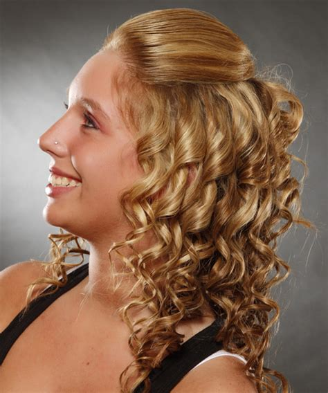 casual long curly half up hairstyle ginger blonde hair
