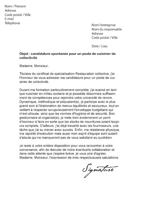 lettre de motivation cuisinier de collectivit 233 mod 232 le de lettre