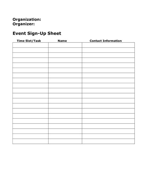 sign in sheet template blank sign up sheet exle mughals