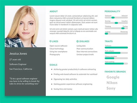 user persona template  psd freebie supply