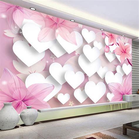 custom photo wallpaper  romantic pink love large wall