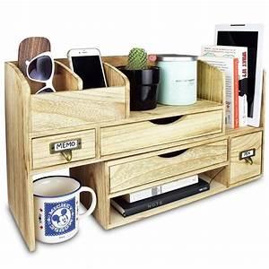Ikee, Design, Adjustable, Wooden, Desktop, Organizer, Office, Supplies, Storage, Shelf