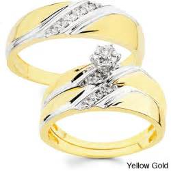 his and hers wedding rings sets 10k gold 1 10ct tdw his and wedding ring set h i i1 free shipping today overstock