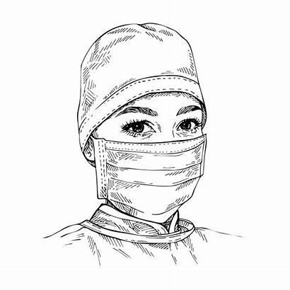 Mask Coronavirus Sketch Doctor Protection Medical Portrait