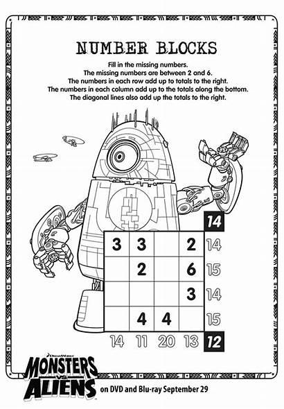 Number Blocks Monsters Worksheets Printable Aliens Numbers