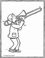 Trombone Player Colouring Kiddicolour Drawing sketch template