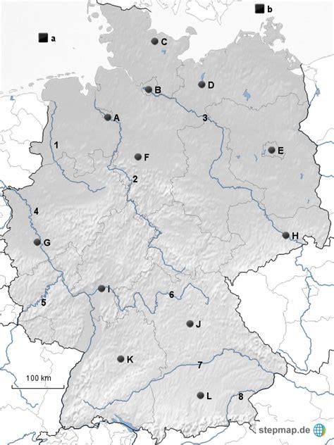 Stumme Karte Deutschland Bundesländer.Herunterladen Stumme Karte Deutschland Flüsse Gebirge Städte