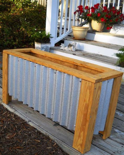 diy corrugated steel wood planter box home  heaven