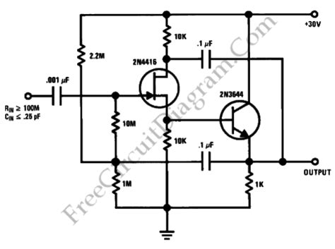 Ultra High Input Impedance Unity Gain Amplifier Circuit