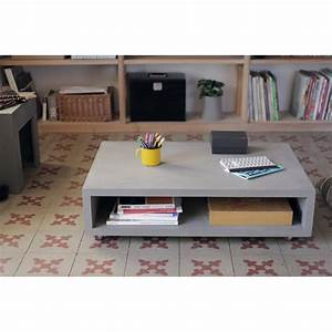 Table Basse Bton Sur Roulettes Monobloc XL By Drawer
