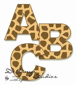 Giraffe print alphabet letters wall art decals for the