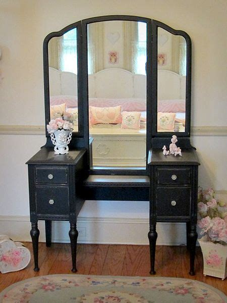 antique black vanity  tri fold mirror  pink