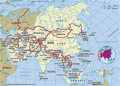 Asia Region Map Most Britannica Mountains South