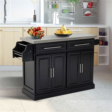 wheeled kitchen islands homcom kitchen island modern rolling storage cart on 1004