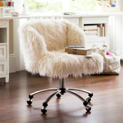 white fur office chair whimsical faux fur office chair makeover