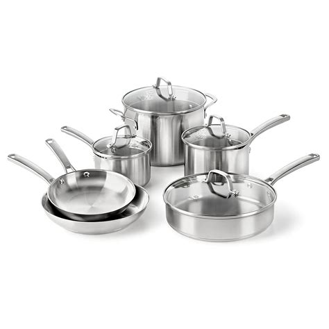 cookware steel stainless pan pot sets calphalon piece classic induction anodized pans pots farberware professional ceramic types check amazon hard