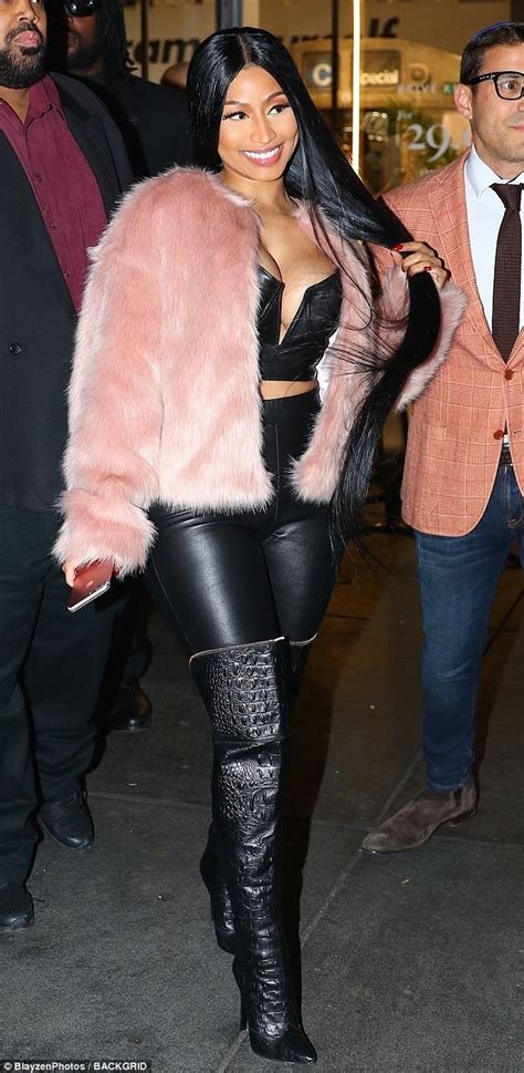 Nicki Minaj Wears Leather For Prive Reveaux Launch In Nyc Daily Mail Online