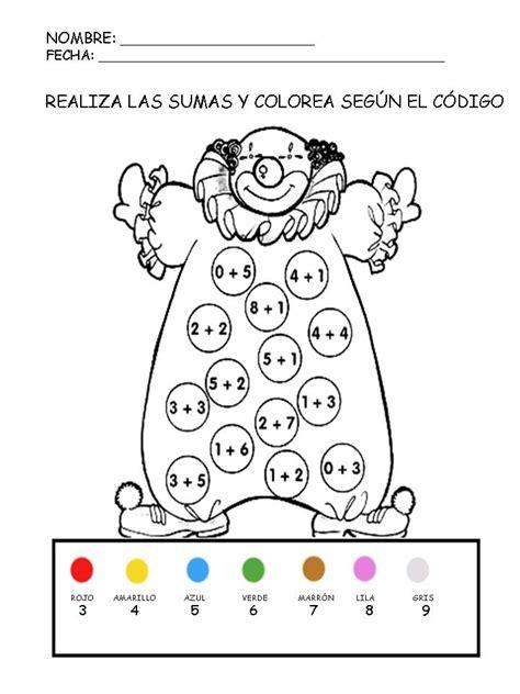 Fichas educativas suma y colorea Manualidades a Raudales