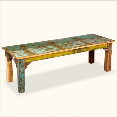Rustic Painted Reclaimed Wood Country Bench Eclectic