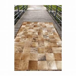 matador tapis patchwork en peaux cuir marron beige With tapis de gym avec canapé ancien cuir