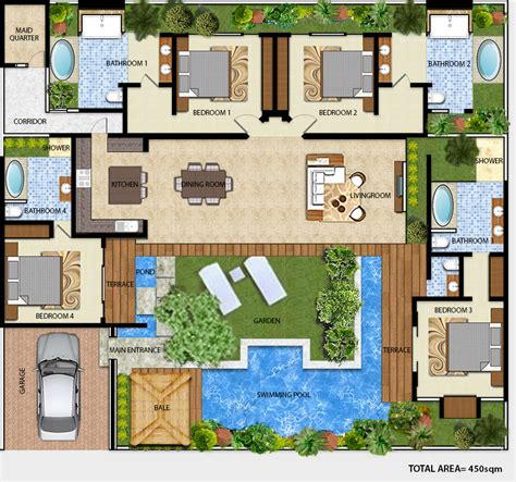 Villa Home Plans by Floor Plan Villa Sanook Drupadi