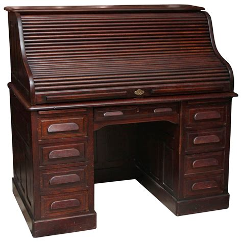 wooden roll top desk 1910s petite antique wooden serpentine roll top desk with
