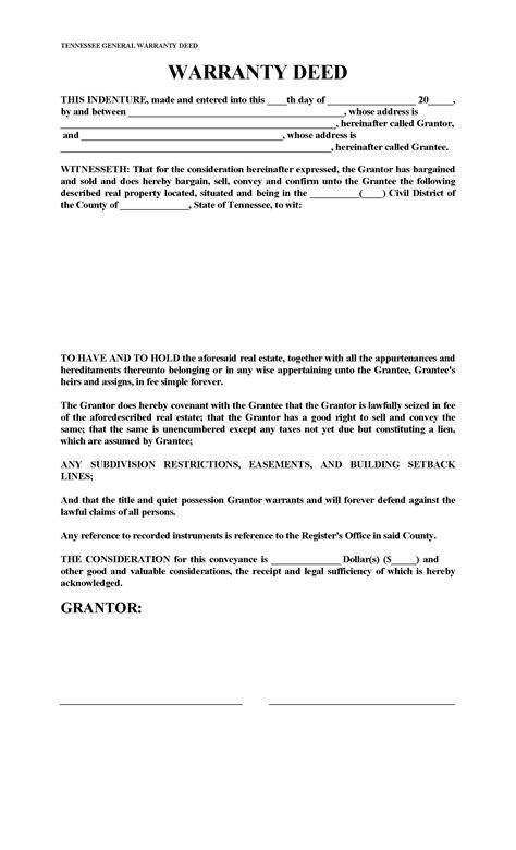 tennessee general warranty deed form deed forms deed forms