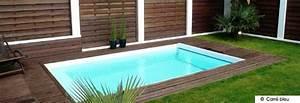 Mini Piscine Enterrée : petite piscine bois et pelouse par carr bleu jardin ~ Preciouscoupons.com Idées de Décoration