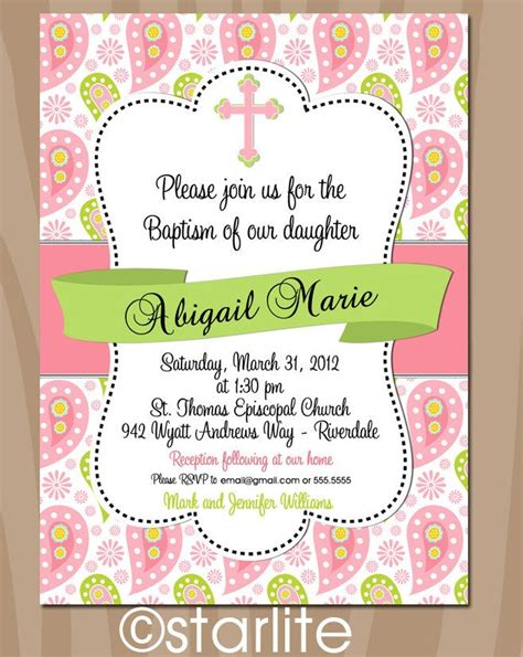 BAPTISM RIBBON Pink and Green Paisleys Baptism