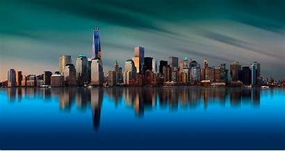 York Reflection Trade Water 4k Center Skyline