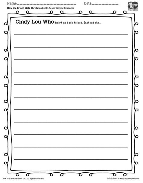 grinch stole christmas writing prompt printable