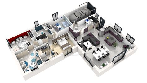 plan 3d chambre maison selene 4 ch