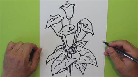 c 243 mo dibujar una flor cala alcatraz lirio de agua how
