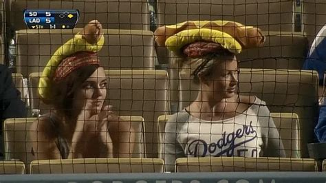 los angeles dodgers fans  hot dog hats leads  fun