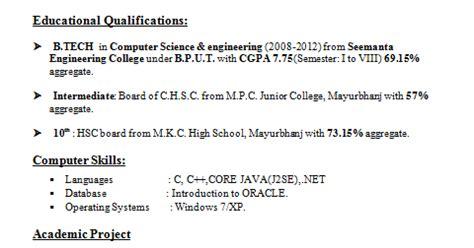 resume format   tech cse students