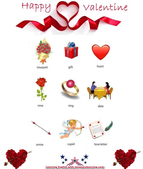 valentine vocabulary  pictures     love words