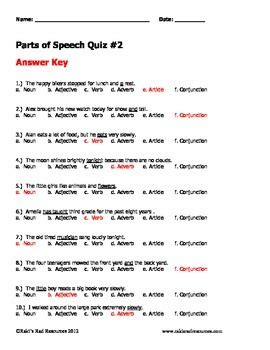 parts of speech worksheets and answers parts of speech practice sheets and quizzes by raki s rad