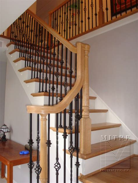 Restaining Banister by Oak Stair Railings Iron Balusters 2 Family Room Decor