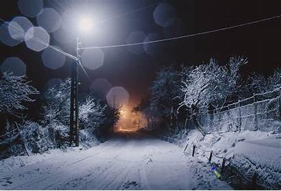 Snow Winter Night Road Trees Ice Seasons