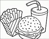 Coloring Pages Fries French Hamburger Printable Everfreecoloring sketch template