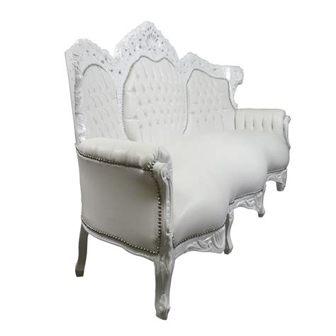 canape imitation cuir white baroque sofa in imitation leather baroque furniture