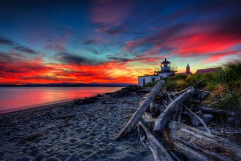 west point lighthouse sunset hdr totally worth  trip