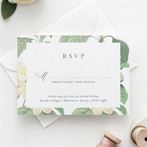 Botanical wedding RSVP reply card response greenery