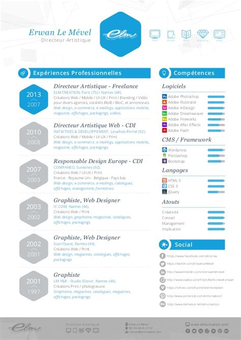 Resume Creation Pdf by Cv Erwan Le M 233 Vel Elm Creation