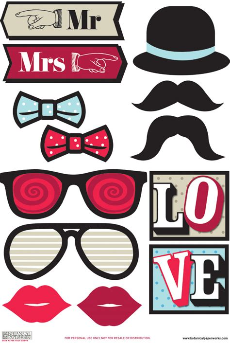 photo booth props template free free printable photo booth props botanical paperworks