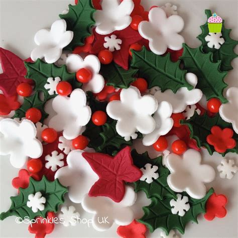 christmas cake toppers edible sugar paste flowers cup cake